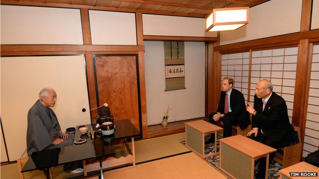 Dr Genshitsu Sen also performed a tea ceremony for Prince William's parents